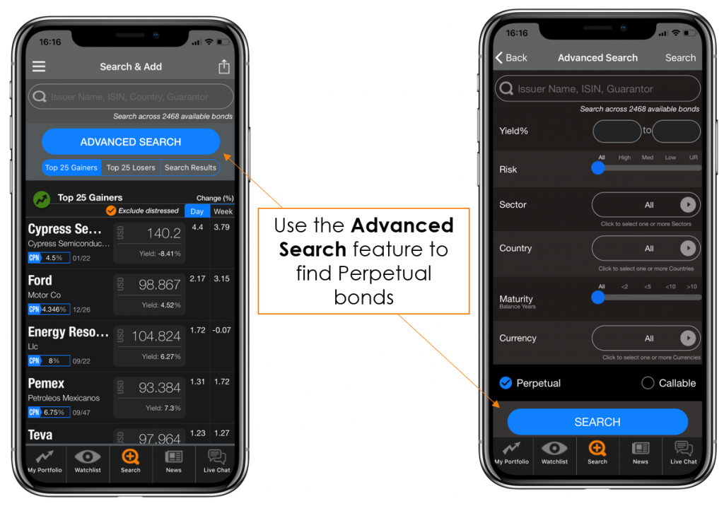 Advanced Search on the BondEvalue App