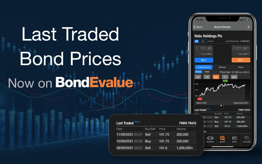 Last Traded Bond Prices by FINRA TRACE – Now on the BondEvalue App